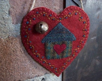 Home is Where the Heart is Rustic Country Heart Valentine Ornament