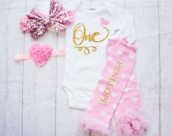Birthday Outfit-Cake Smash Outfit- Pink and Gold Birthday Shirt-1st Birthday Bodysuit-Personalized Leg Warmers-First Birthday Bodysuit