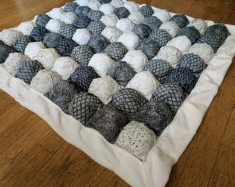 Bubble Blanket - Biscuit Quilt - Grey Blue White - Batik - Baby Blanket with White Minky Edging and Backing - Ready to Ship