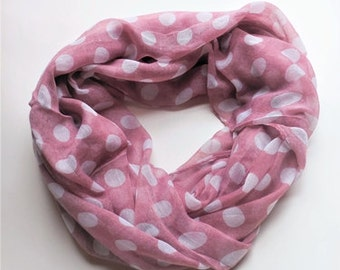 Polkadots pink infinity scarf.