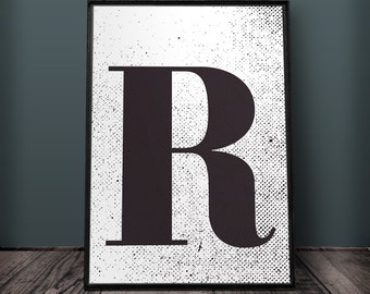 Letter R Print, Letter Wall Art, Letter Wall Decor, Printable Letters, Large Letter Print, Typography Print