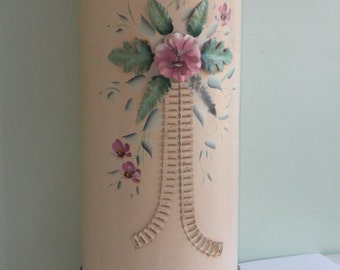 Vintage Metal HP Toleware Laundry Hamper Can with Lid