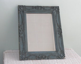 Vintage Ornate Turquoise Blue Gesso Framed Beveled Mirror