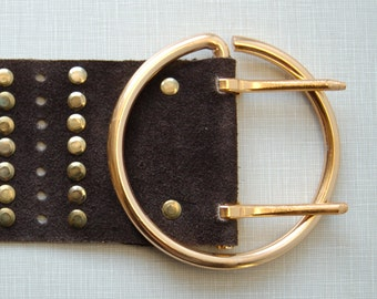 1970's wide chocolate brown suede belt with studs//Made in Spain