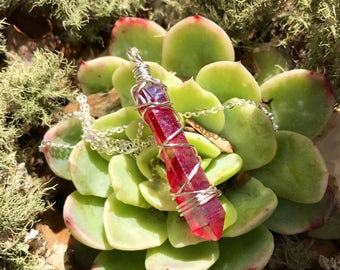 OOAK Raspberry aura Quartz point - wire wrapped simple necklace - sterling plated
