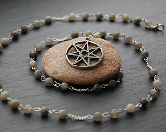 Elven/Faery/Faerie/Fairy Star & Labradorite Pagan Prayer Beads/Witch's Ladder. Pagan Druid Wicca Witch Elf Fairies Septagram Heptagram Fae.