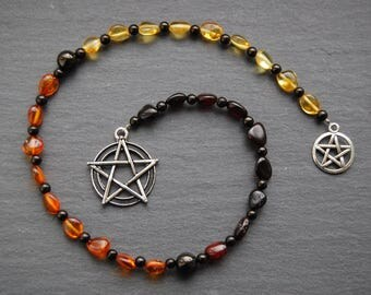 Baltic Amber and Jet Pagan Prayer Beads / Witch's Ladder / Witches' Ladder. Pagan Wicca Witch Druid Heathen Asatru Freyja Goddess Witch.