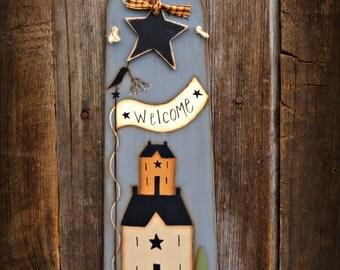 Primitive Hand Painted Folkart Door Greeter~Door Hanger~Primitive Home Decor~Wall Hanging~Front Door Decor~Country Door Decor~Country Decor