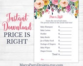 Prince Is Right Baby Shower Game - Girl Spring Flowers Floral Blush Pink Navy Teal Wishes Printable Instant Download