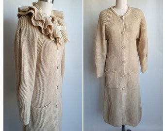 Wool Sweater Coat • Shawl Collar Oatmeal Long Cardigan • Vintage 80s Off White Ivory Long Sweater • Size S Wool Coat