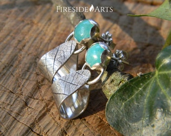 Sterling Silver Leaf Earrings Amazonite gemstone textured dangle leaf design handmade light simple modern shiny patina Metalsmith