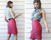 Italian vintage wine red pure linen above the knee length high waist pencil mini skirt S