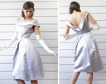 50s Vintage steel silver grey off shoulder fitted bodice full skirt evening midi dress XS