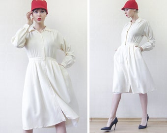 Vintage ivory cream white long sleeve waisted button up shirt dress S M