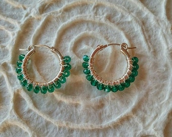 Wire Wrap Emerald Swarovski earrings, Sterling silver hoop earrings, Swarovski Emerald, Medium hoop earrings women jewelry