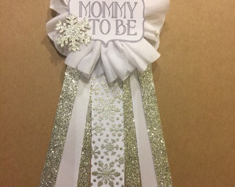 Silver Snowflake Baby Shower corsage pin Baby Its Cold Outside baby shower pin mommy to be pin Flower Ribbon Glitter baby shower pin