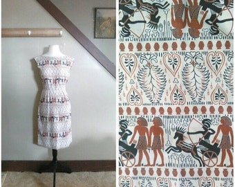 20% OFF / The New Kingdom 1950s Cream/Brown/Black Egyptian Novelty Print Wiggle Dress