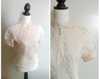 25% OFF/ Gold & Glittering 1950s Sheer Cream/Gold Lamé Chevron Striped Blouse w/ Peter Pan Collar/Puff Sleeve Detail
