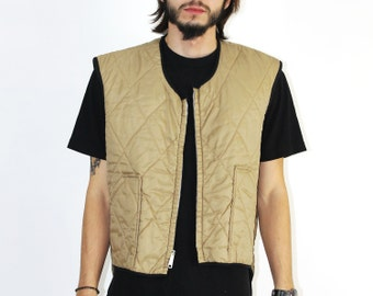Lee Vest - Quilted Beige Vest TAN 1960s 60s QUILTED Vest Polar Warm Winter Large XL Christmas Woodsman Outdoors Lee Outerwear Union Made