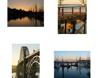 Newport Oregon Coast Scenic Sunrise Pacific Northwest Travel Souvenirs, Note Cards, All Occasion Cards, Blank Photo Cards, set of 4 images