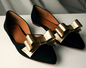 Gold Leather Bow Shoe Clips (set)