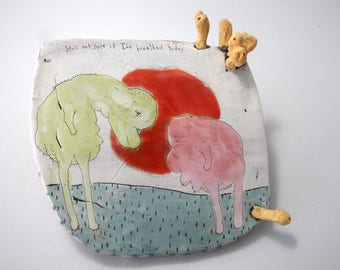 Handmade Original Ceramic Wall Blob with Animal Drawing Two Creatures Gaze at Each Other before a Sunset