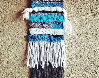 Weaving Wall Hanging Small Tapestry Blue and White Gift Fiber Art Heart Tissage Fibers Textile Arts Baby Boy Shower Nursery