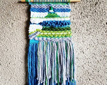 Weaving Wall Hanging Tapestry Blue and Green 20 x 12 in Gift Fiber Art Tissage Fibers Textile Arts Landscape Home Decor