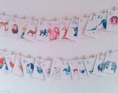 Alphabet flashcards, ABC flash cards, Alphabet art, Animal alphabet, Nursery ABC art, Baby nursery alphabet, Geometric art, Baby flashcards