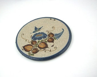 Vintage Tonala Pottery Trivet or Wall Plaque, Mexian Folk Art, Signed