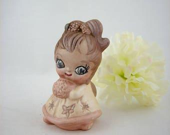 Big Eye Girl Josef Original Ceramic Figurine, January Birthday Month Series, 1960s