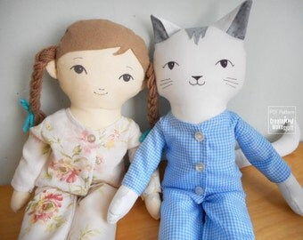 "PJs for 18"" Doll & Cat - Dress Up - Sewing Pattern and Tutorial - sleeping mask, Pajamas, Jammies, Pyjamas"