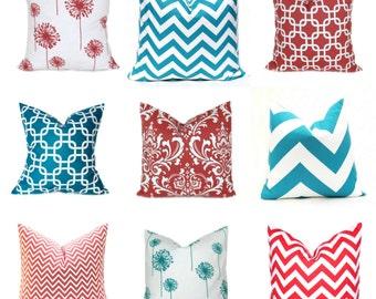 PILLOWS, Coral Pillow Covers, Turquoise Pillows, Decorative Pillows, Accent Pillows, Throw Pillows, Toss Pillows, Aqua Pillow, Cushion Cover