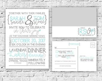 Modern Wedding Invitation and RSVP Postcard Digital File, Printing Service Offered