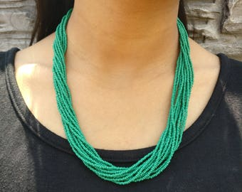 Kelly Green Multi-Strand Seed Beads Necklace with Silver Plated Findings, Nepal