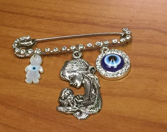 Mother day gift Safety pin Evil eye Mother Love Mother of Peal charm