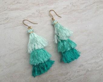 Raw Silk Tassel Earrings Aqua Ombre Tassle Earrings Summer Jewelry