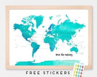Custom World Map Art Print Poster Countries Names Watercolor Blue - Travel Map World Map - Medium - XLARGE