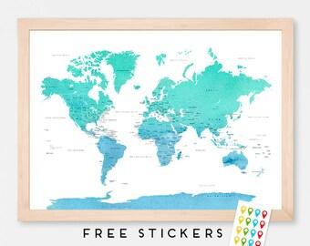 World Map Art Print Poster Countries Names Blue- Mint Watercolor - Travel Map World Map - Medium - XLARGE