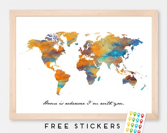 Personalized Travel Map Poster Watercolor World Map Poster Art Print , Gift Idea, Wall Hanging, Travel World Map Art Print -
