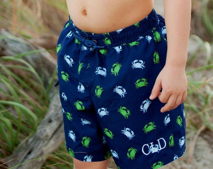 Swim Trunks, Monogrammed Swim Trunks, Boys Monogrammed Swim Trunks, Gettin Crabby Swim trunks, Finn Swim Trunks, Monogram Swimsuit