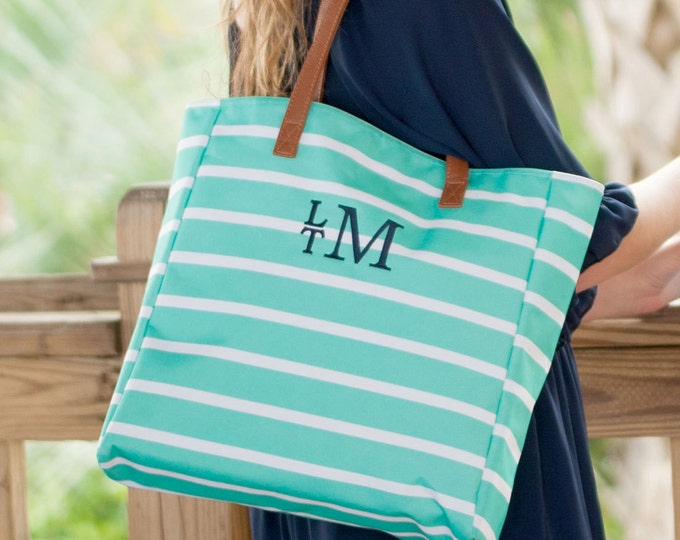 Mint Stripe Tote Bag, Monogrammed Tote Bag, Preppy Stripe Tote Bag, Bridesmaid Gifts, Personalized Gifts, Personalized Tote Bag