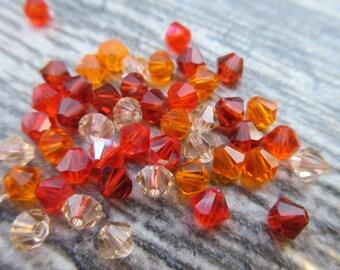 48 pcs Genuine Swarovski Crystals Fall Leaves Mix Indian Red, Sun, Hyacinth, Light Peach 5103 bicone shape FALL01