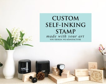 Your Custom Self Inking Rubber Stamp, Business Stamp, Wedding Logo Stamp Image or Wedding Favor Image turned into a self inking stamp