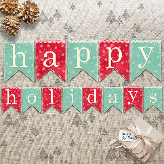 Christmas Decor - Happy Holidays Banner - Holiday Double ...