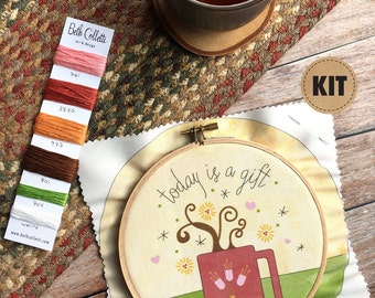 Coffee Art, Embroidery Kit, DIY Gift, Stitch Kit, DIY Crafts, Embroidery Pattern, Hoop Art, Cheerful Kitchen Decor, Gratitude Wall Art