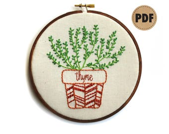 Thyme, Modern Embroidery Pattern, Botanical Art, Herb Garden Kitchen Art, Embroidery Design, Plant Lady, Potted Herbs PDF Digital Download
