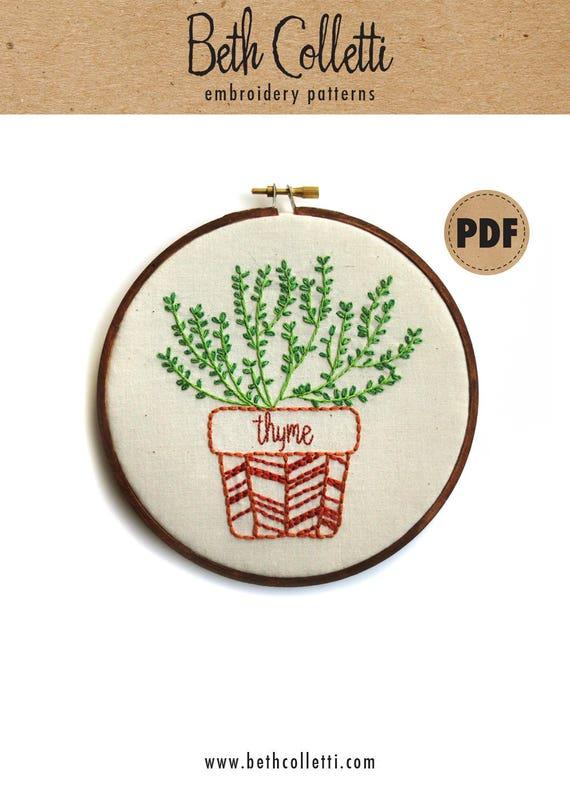 Thyme modern embroidery pattern botanical art herb