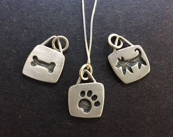 Dog Paw Bone charms pendants necklace Sterling Silver made in USA