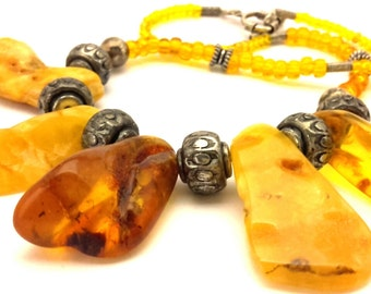 Amber Baltic Necklace Vintage Natural Genuine 46.77 Gr Cognac Egg Yolk Color